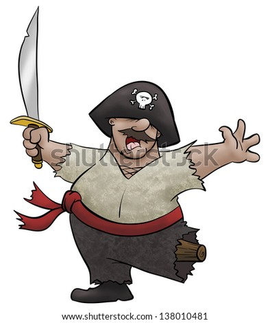 A cartoon pirate dancing and waving his sword around.