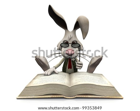 A cartoon rabbit wearing glasses sitting on the floor and reading a big book. White  background. - stock photo