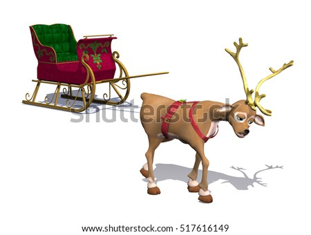 A cartoon reindeer is exhausted from pulling Santa's sleigh - 3d render.