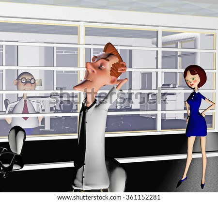 A cartoon rendered illustration of a possible interior of a busy office featuring three characters - stock photo