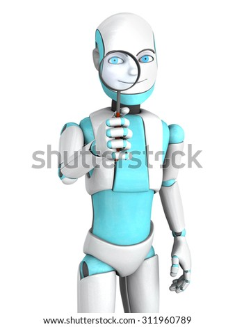 A cartoon robot boy smiling and looking through a magnifying glass he is holding. White background. - stock photo