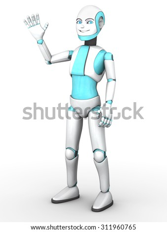 A cartoon robot boy smiling and waving his hand. White background.