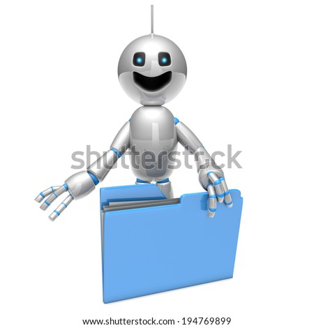 A cartoon robot holding a digital computer folder. 3D rendered Illustration isolated on white. - stock photo