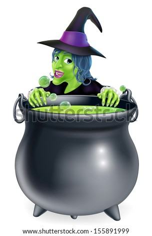 A cartoon witch character peeking over a bubbling witch's brew in a big cauldron  - stock photo