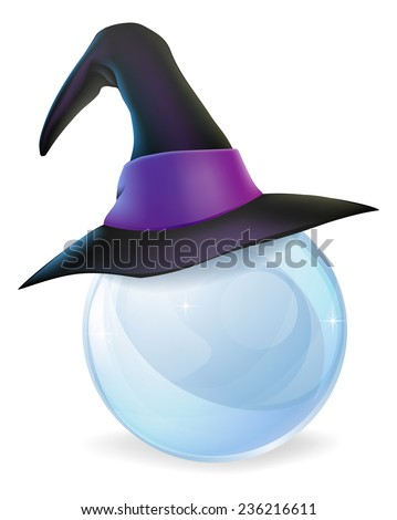A cartoon witch hat on a crystal ball with copy space on the crystal ball. - stock photo