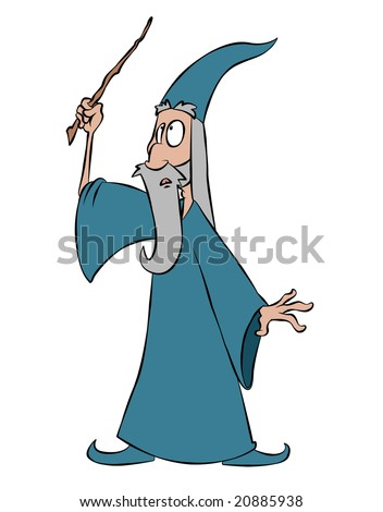 A cartoon wizard waving his wand, about to cast a spell. - stock photo