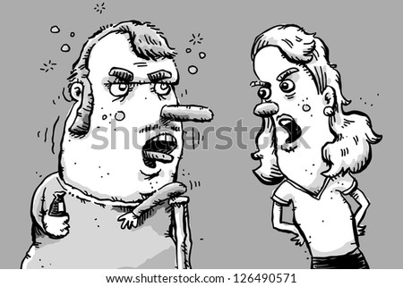 A cartoon woman argues with her alcoholic husband.