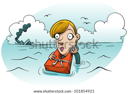 A cartoon woman makes a phone call after escaping a sinking ship. - stock photo