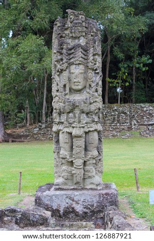 A carved Stella from the ancient city of Copan in modern day Honduras - stock photo
