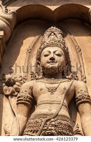 A carving of Maitreya, the future Buddha, at Kelaniya temple, Sri Lanka - stock photo