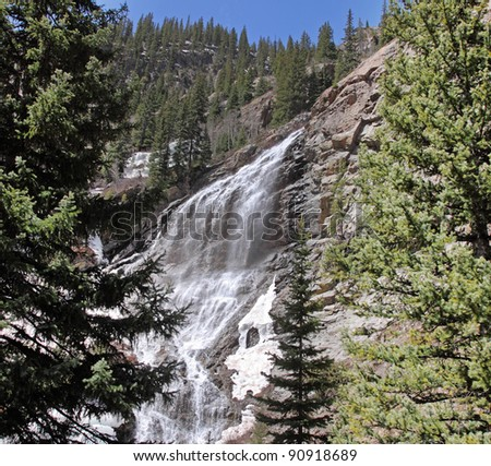 A Cascade on the Animas River in the Colorado Rockies, USA with melting snow