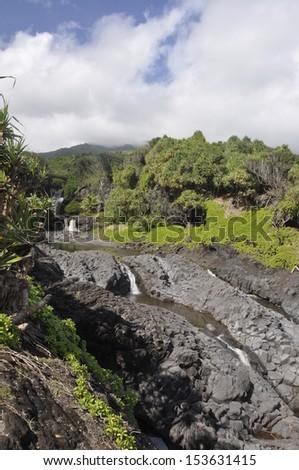 A cascade on the Hawaiian island of Maui - stock photo