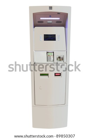 a cash dispenser against the white background - stock photo