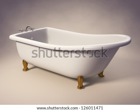 A cast-iron standing bathtub on white with clipping path included. - stock photo