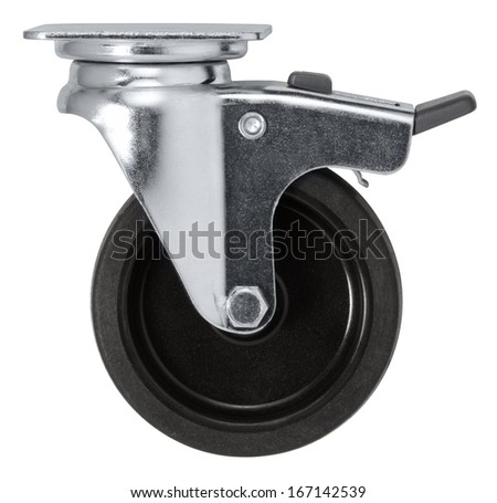 a caster wheel in white back - stock photo
