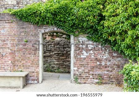 A castle garden entrance seen in Rye, Kent, UK - stock photo