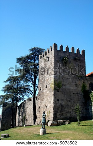 a castle ruine in the city of porto - stock photo