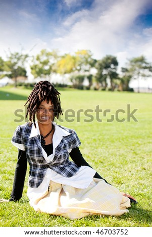 A casual portrait of an African American woman - stock photo
