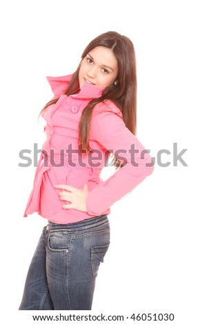 A Casual teen woman over white background