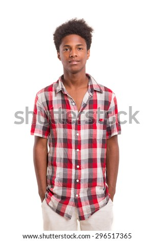 A casual young black boy posing isolated