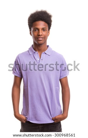 A casual young black boy posing isolated - stock photo