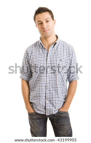 a casual young man with his hands on pocket