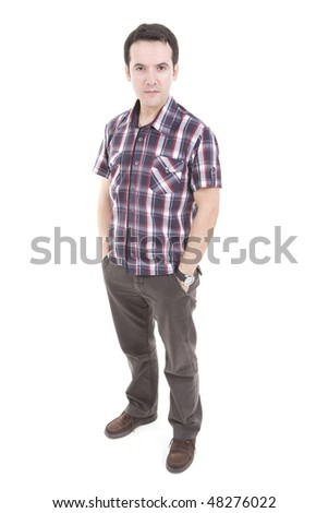 a casual young man with his hands on pocket - stock photo