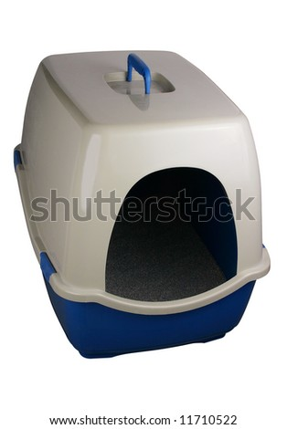 A cat's litter box on white with a clipping path - stock photo