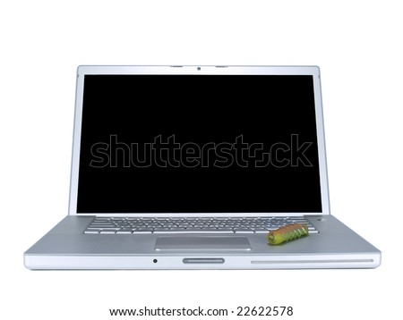 A caterpillar over a laptop computer. Isolated on white.