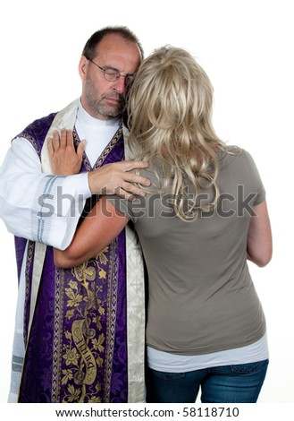A Catholic priest in love with his girlfriend. Example picture celibacy - stock photo