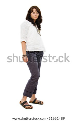 a caucasian brunette woman isolated on white