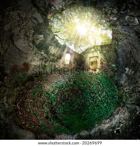 A cave that hides a ruined house lost in the woods - stock photo