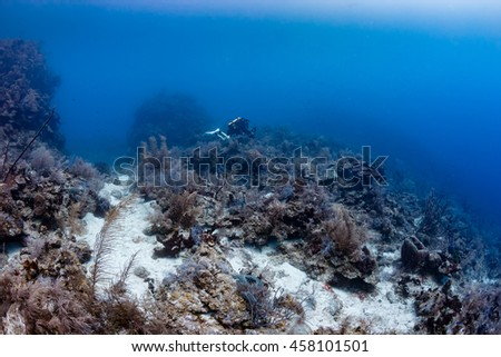 A CCR Scuba Diver at the top of an underwater cliff - stock photo