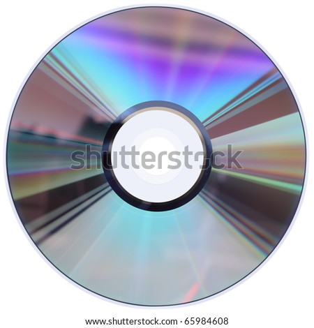 A CD / DVD disk isolated on white with four clipping paths. No scratches or dust. - stock photo