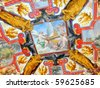 A ceiling fresco in the Vatican Museums (Musei Vaticani). Located in the Vatican City, are among the greatest museums in the world, and display works from the Roman Catholic Church collection. - stock photo