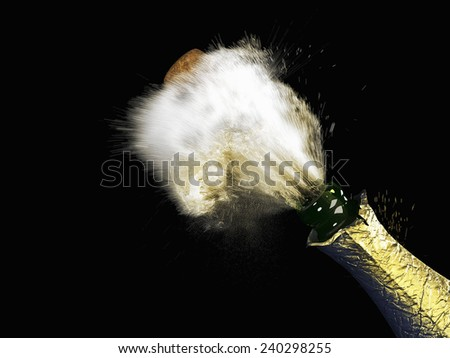 A Celebration theme with splashing champagne bottle - stock photo