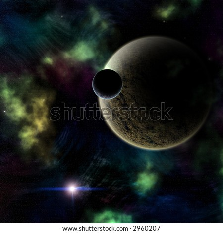 A celestial planet and moon orbiting in a dust and gas covered solar system. - stock photo