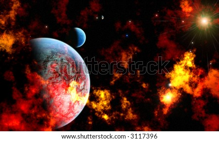 A celestial planet and moon orbiting in a dust and gas covered solar system.
