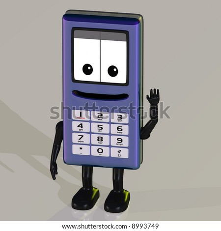 A cell phone with arms and legs Image contains a Clipping Path - stock photo
