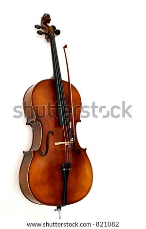 A cello in white background