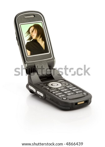 A cellular phone isolated on white - stock photo