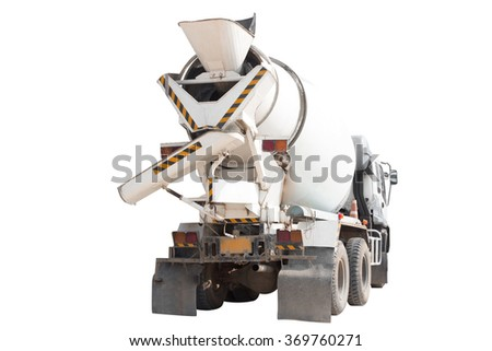 A Cement Delivery truck isolated on white background with clipping path - stock photo