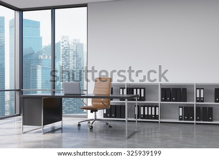 A CEO workplace in a modern corner panoramic office with Singapore city view. A black desk with a laptop, brown leather chair and a bookshelf with black document folders. 3D rendering. - stock photo