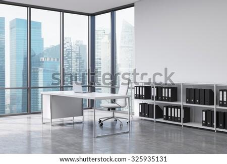 Workplace Modern Corner Panoramic Office New Stock Illustration ...