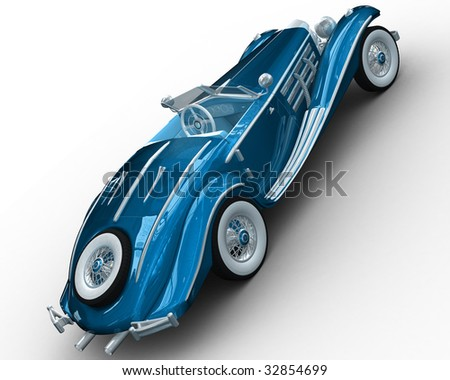 A CG rendering of a classic car 3d model - stock photo