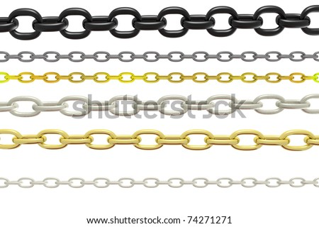 a chain collection on white