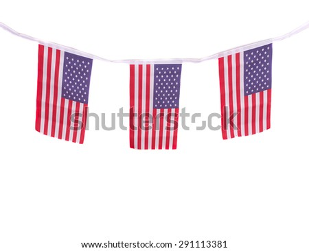 A chain / garland/ bunting of USA flags hanging proudly for July 4 Independence Day