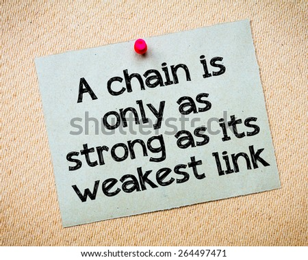 a chain is only as strong as its weakest link A chain is only as strong as its weakest link 7 american history , constitution , election 2012 , freedom , white house • tags: anchor chain , fundamental change , supreme court i am not sure what philosopher first uttered the words in the title of this post.