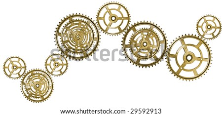 A chain of golden interlocking cogs. Isolated on white. - stock photo