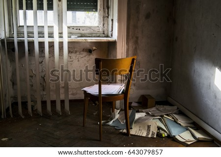 A Chair In Front Of Window Corner Room With Some